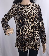 Velour Leopard Print Shirt Small Soft Sexy Long Sleeve Cheetah Wild Cat Top