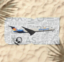 Allegiant Airlines MD-80 with Airport Codes - Beach Towel