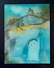 '89 France Hawaii Outsider Art WC Painting Small Child by Claude Vedel (EtJ)#60