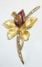 Cute Gold Flower With Enamel / Rhinestone Crystals Brooch Pin