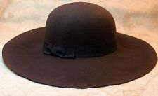 Floppy Wide Brim Womens Winter Hat 100% Wool Brown