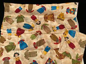 KD Kids & Co Paper Dolls Cotton Quilt Fabric 2.5 Yards Kari Dearson 2 Pieces
