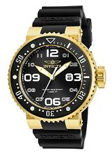 Invicta Mens 52mm Grand Pro Diver Gold Tone S. Steel Black Silicone Strap Watch