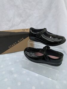 Girls Startrite Poppy Black Patent School Shoes Size 2H