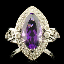 WJA CERTIFIED .925 Sterling Silver Amethyst 2.39CTW & White Topaz .24CTW Ring