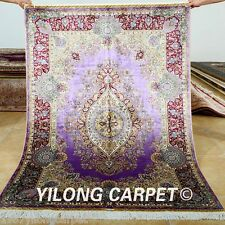 Yilong 4'x6' Persian Silk Rugs Handmade Purple Carpets Classic Hand-knotted 0677