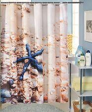 Quality Polyester Blue Nautical Star Fish Pebbles Beach 180 x 200 Shower Curtain