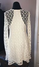 Free People Beach Anthropologie White Ivory Crochet Long Sleeve Mini Dress M
