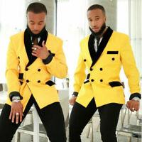 Men's Yellow Suit Double Breasted Jacket Black Pants Luxury Tuxedo Wedding Suit