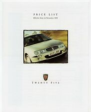 Rover 25 Prices & Options 1999-2000 UK Market Foldout Brochure SE iE iL iS GTi