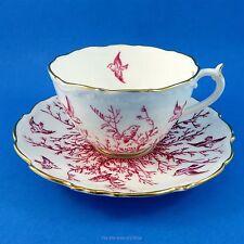 Pink Bird Design on White Coalport Tea Cup and Saucer Set