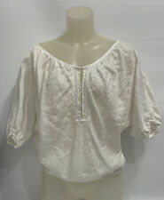 blouse White women's clothing  100 % Linen Sz M