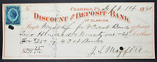 Us Check discount and deposit Bank of Clarion Inter. Rev. Stamp 1881 (h-6823+