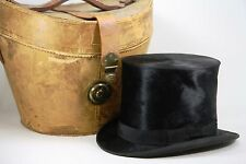 Antique Beaver Top Hat Knox New York W/Leather Carrying Case Vintage SO COOL!