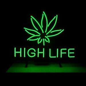 "New Marijuana Hemp Leaf High Life Weeds Green Neon Light Lamp Sign 17""x14"""