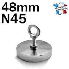 SUPER AIMANT MAGNET NEODYM DISQUE N45 - 48mm - 100Kg - PÊCHE A L'AIMANT