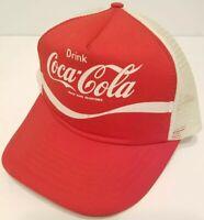Vintage Coca Cola Snapback Trucker Hat Script Mesh Cap Foam Red White Coke 80's