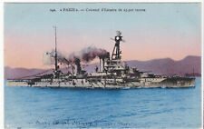 c1912-55 French Navy Battleship PARIS Armored Cruiser Postcard RPP