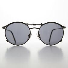 Big Round Steampunk 90s Vintage Sunglass Black/Gray -Mackaveli