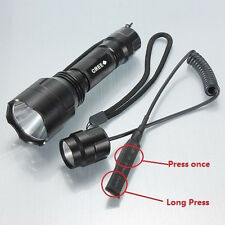 C8 Flashlight Cree XM-L T6 2200LM LED Torch Lamp + Remote Pressure Switch