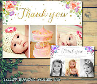 10 Personalised Christmas Thank You Card Photo & Envelopes Birthday Christening