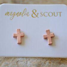 Matte Rose Gold Plated Cross Stud Earrings / Small Dainty Christian Jesus Studs