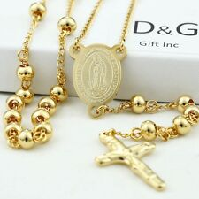 "DG Stainless Steel,Gold 26"" Beaded Rosary VIRGIN MARY JESUS CROSS Necklace,BOX"