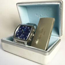 Paul Smith Cronógrafo Reloj De Plata, Acero Cuadrado TV Flyback Japan Blue