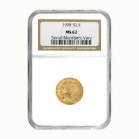 1928 $2.5 Gold Quarter Eagle Indian Head NGC MS 62