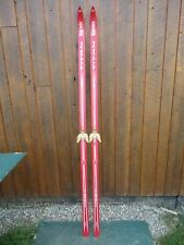 """Vintage Wooden Snow Skis 81"""" Long with RED Finish  Great Decoration"""