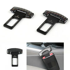 2X Carbon Fiber Car Safety Seat Belt Buckle Alarm Stopper Clip Clamp Universal
