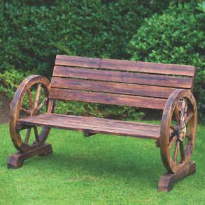 Stylish Garden Burnt Wooden Wagon Wheel 2 Seater Bench & Wooden Rocker Chair