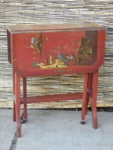 Side table, drop leave, Chinoisorie, excellent condition. Antique, Edwardian.
