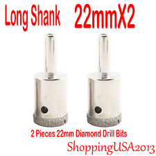 2 Pcs 22mm Diamond Drill Bits Set Hole Saw Long Shank Cutter Tool Glass Granite@