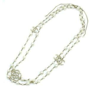 Used Authentic CHANEL Long Necklace Faux Pearl Cc Camellia White GP Rhinestone
