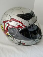 HD Full Face Helmet Size Large  Black Red Silver & Yellow Hawk DOT Sold as is