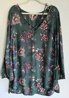 Free People Green Floral Criss Cross Neckline Long Sleeve Top Tunic sz M