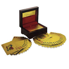 24k 999.9% Genuine Gold Plated Poker Playing Cards Deck With Wooden Box AC