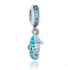Seahorse European CZ Crystal Charm Silver Spacer Beads Fit Necklace Bracelet
