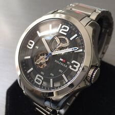 Mens Tommy Hilfiger Designer Watch Automatic Steel Skeleton Black Genuine