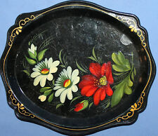VINTAGE RUSSIAN HAND PAINTED FLORAL LACQUER WOOD TOLE PLATE