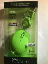 ReTrak Flavours Retractable USB Optical Mouse 800 dpi Sensor 2.6 ft cord *Green*