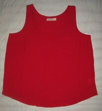 XL tank top flowy RED HOT w chest pocket layer career slinky 16 18 holiday