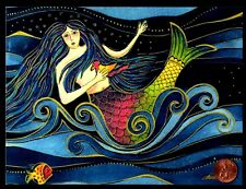 LAUREL BURCH Mermaid Bird Fish Waves -  GLITTERED  Birthday Greeting Card - NEW