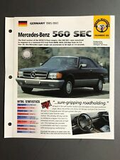 "1985 - 1991 Mercedes-Benz 560 SEC Coupe IMP ""Hot Cars"" Spec Sheet Folder Awesome"