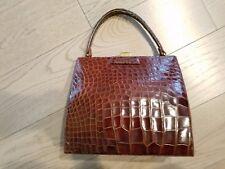 LUCILLE DE PARIS Vintage Label Alligator Handbag Purse Bag Chocolate Brown