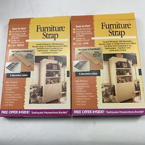 "2 Quake Hold Furniture Strap Kit #4163 #4161 Beige Oak 4 x 18"" straps & screws"