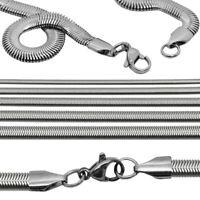 1 Schlangenkette 55cm Lang Collier Flach Halskette Kette Edelstahl Silberfarben