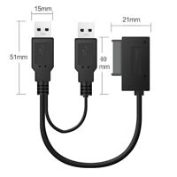 USB2.0 to 6+7 13Pin Mini SATA Cable Adapter With External USB 2.0 Power Supply