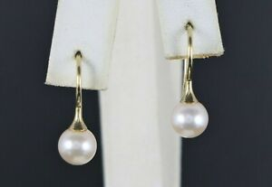 $895 FB 14K Yellow Gold 7.2mm Cultured Pinkish White Pearl Hook Drop Earrings